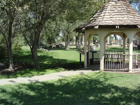 Gazebo and shade trees at the zoo
