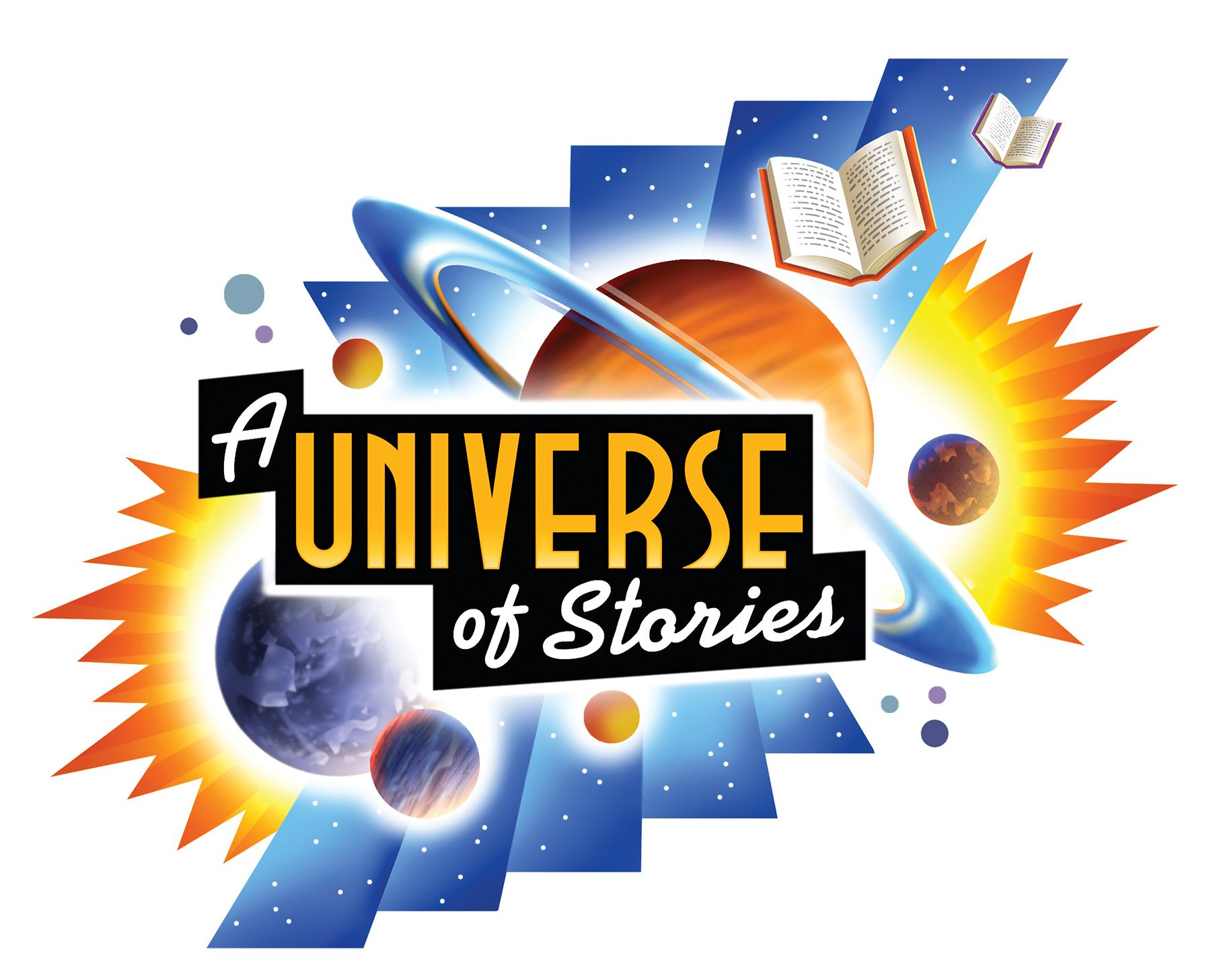 A universe of stories logo with floating planets and books