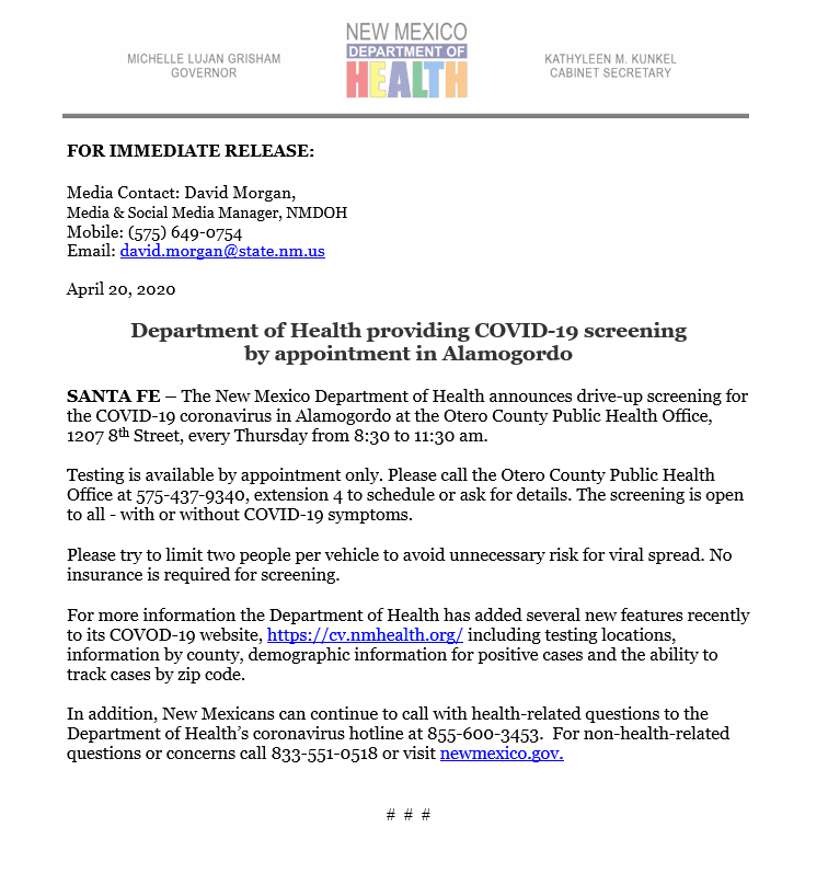 Press Release - Testing in Alamogordo