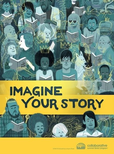 Imagine Your Story logo with many people reading