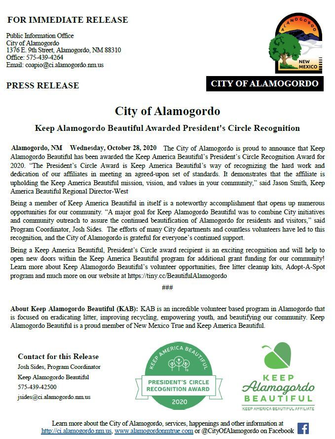 Press Release - KAB Awarded Presidents Circle Recognition 102820