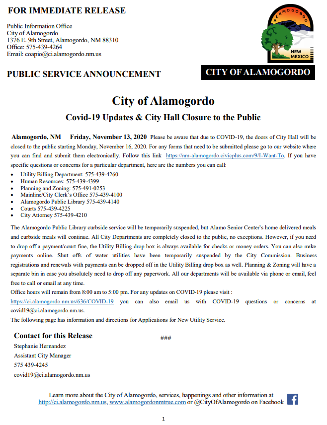 PSA - Covid-19 Updates and City Hall Closure to the Public 11132020 (1)