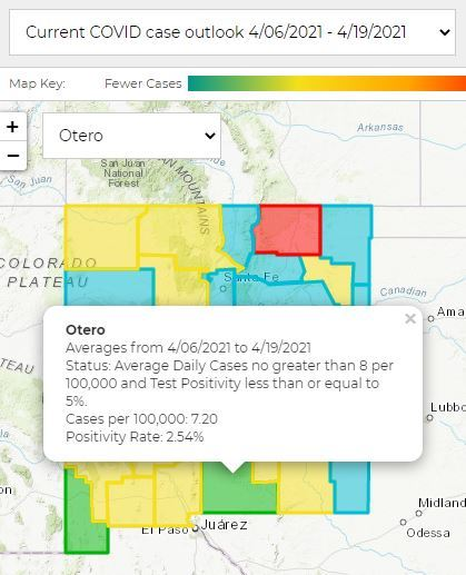 April 21 image of NM Covid cases map