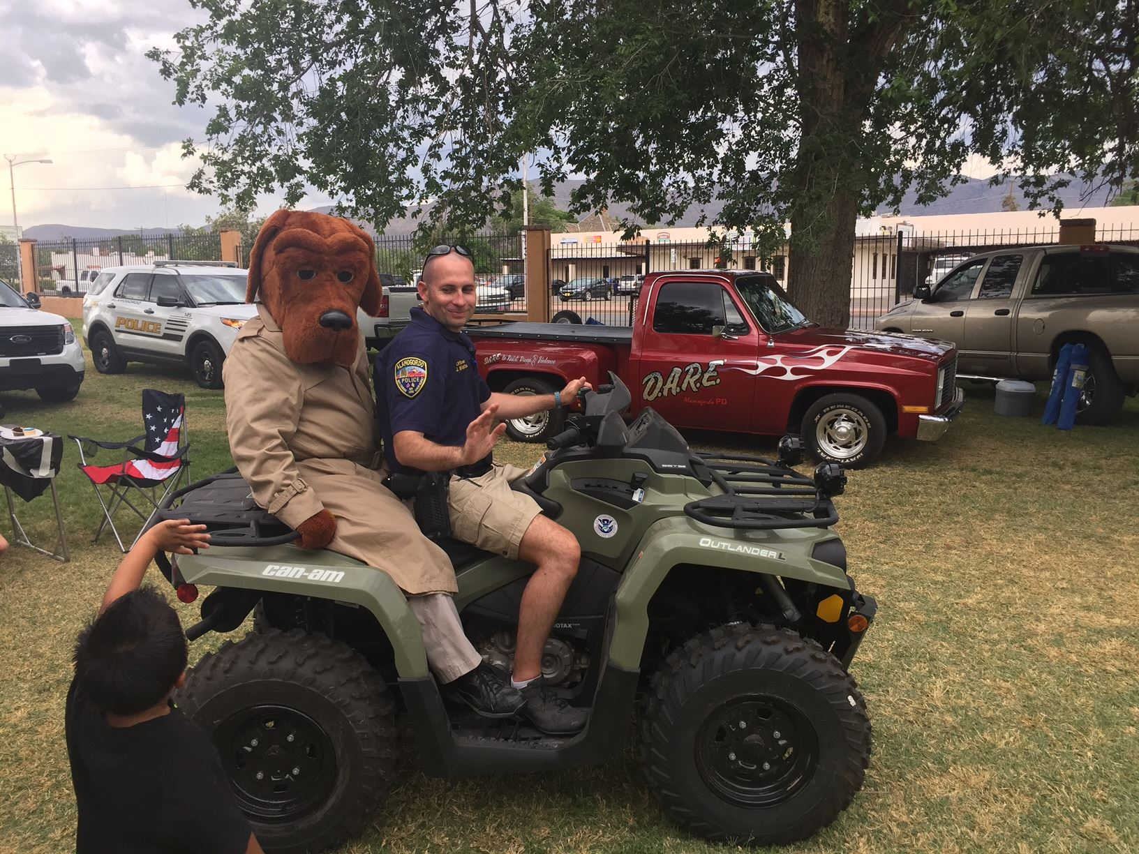 DARE McGruff the Crime Dog on Four Wheeler with APD officer